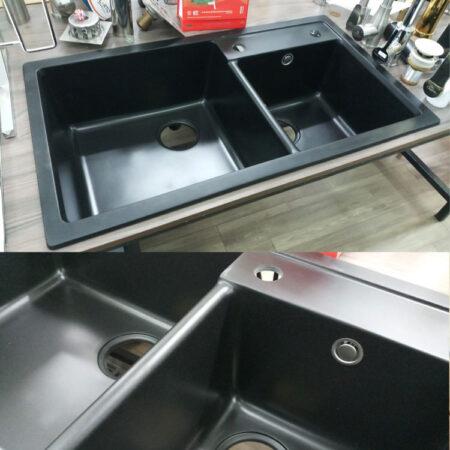 Chau rua chen da nhap 002 450x450 - Chậu rửa chén đá nhập khẩu màu đen CN003B