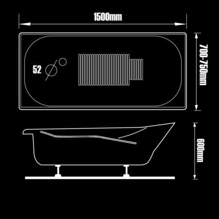 BT15 450x450 - Bồn tắm nằm kích thước 1m5 BT15B